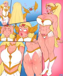 abs ass big_lips bimbo blonde_hair blue_eyes blush breast_expansion breasts busty cleavage female high_heels long_hair muscles muscular muscular_female navel ponytail she-ra she-ra_and_the_princesses_of_power she-ra_princess_of_power sheela sheela_(artist) solo thick_thighs thong transformation very_long_hair