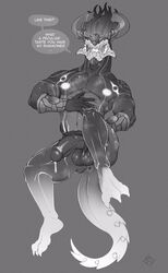 2017 anthro anthrofied anus armlet aurelion_sol balls cum cum_drip dragon dripping english_text feet floating half-erect horn league_of_legends looking_at_viewer male monochrome muscular nipples pecs penis perineum presenting repzzmonster riot_games text video_games