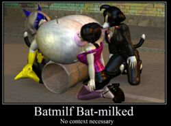 3girls anthro batmilf body_modification breast_expansion breastfeeding cgi daughter deedonis family female furry heroine humiliation hyper hyper_breasts lactation milf milk mother_and_daughter needle superheroine syringe text voluptuous