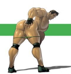 1boy abs absolutbleu ass bara bent_over biceps big_butt brown_hair chris_redfield fingerless_gloves gay hand_on_ass human looking_back male male_focus male_nipples male_only muscular muscular_male naked nude pecs presenting presenting_hindquarters resident_evil resident_evil_5 shoes short_hair smile solo solo_focus solo_male spread_legs underwear underwear_down video_games yaoi