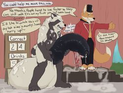 2018 anthro ball_growth balls big_balls big_penis black_nose black_penis canine clothing comic cum cum_leaking cum_on_face cum_on_own_face cum_on_self dialogue digital_media_(artwork) dragging duo ejaculation english_text excessive_cum flaccid forced fox fur game_(disambiguation) game_show growth heavy holding_penis huge_balls huge_cock humanoid_penis humiliation hyper hyper_balls hyper_penis keith koorivlf male mammal messy nipples nude open_mouth penis penis_growth slightly_chubby smile speech_bubble standing tanuki text thick_penis uncut vein veiny_penis