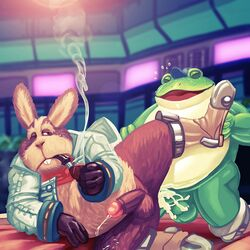 amphibian anthro balls blazingcheecks brown_eyes brown_fur closed_eyes clothed clothing cum cum_in_ass cum_inside cum_while_penetrated detailed_background digital_media_(artwork) frog fur game_(disambiguation) gloves hare lagomorph looking_pleasured male male/male mammal nintendo open_mouth overweight overweight_male penetration peppy_hare sex slippy_toad smile smoke smoking smoking_pipe star_fox video_games