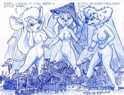 anthro barefoot bear breasts canine chip_'n_dale_rescue_rangers crossover disney dog female female_only fur furry furry_breasts gadget_hackwrench goof_troop hair interspecies long_hair mammal mouse multiple_females peg_pete rebecca_cunningham rodent short_hair standing tagme talespin text