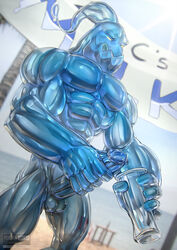 2017 abs balls banner beach big_penis coconut_tree dripping exhibitionism glass goo grin holding_glass holding_object horny_(disambiguation) huge_cock humanoid league_of_legends male masturbation muscular muscular_male naughty_face penile_masturbation penis precum public riot_games sand sea seaside sky small_balls smile solo squint sun todex tree video_games water zac