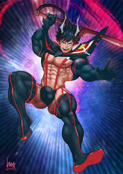1boy abs ass bulge kill_la_kill luxuris male_only muscle outfit pecs pose rule_63 ryuuko_matoi sword viewed_from_below