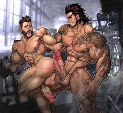 2boys abs anus ass ass big_balls big_penis erection facial_hair final_fantasy_xv gladiolus_amicitia luxuris male male_only muscle nipples nude open_mouth pecs penis posterior_cleavage tattoo veins