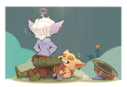 1boy 1girl anthro bare_back blue_skin caught closed_eyes cowgirl_position fangs female furry junyois league_of_legends lying_down male pants riot_games sitting_on_person smile straight teemo teeth topless tristana ward white_hair yordle