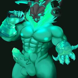 2018 armor athletic balls bedroom_eyes clothing colored dialogue digital_media_(artwork) front_view gauntlets gloves green_body green_eyes green_nipples half-closed_eyes knight_owl league_of_legends looking_at_viewer male male_only manly muscular nipples penis precum riot_games seductive simple_background skull solo thresh video_games