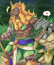 abs anthro armor barazoku biceps blue_eyes brothers brown_fur canine closed_eyes clothed clothing crocodile crocodilian footwear from_behind_(disambiguation) fur gauze green_skin headgear heart helmet jackal league_of_legends male male_only mammal manly muscular nasus navel night open_mouth outside pecs renekton reptile riot_games scalie sharp_teeth sibling smile standing teeth tongue triceps video_games weedwolf