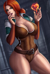big_breasts breasts cleavage female female_only flowerxl large_breasts looking_at_viewer solo the_witcher triss_merigold