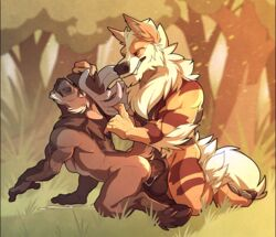 2boys all_fours anal anal_sex anthro arcanine ass back big_feet big_penis black_fur brown_fur canine cervine claws closed_eyes cum cum_in_ass cum_inside cum_while_penetrated duo elk fangs feet forest furry gay grass hands-free hooves horns humanoid_penis interspecies large_penis long_penis male male_only mammal muscular nintendo no_swift nude orange_fur orgasm original_character outdoors pawpads paws penetration penis pokémon_(species) pokemon pokemon_rgby red_eyes ruairi stripes tail teeth testicles thick_penis thick_thighs video_games wet white_fur yaoi