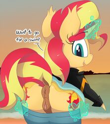 2017 ? anatomically_correct anatomically_correct_pussy animal_genitalia animal_pussy anus ass beach clitoral_winking clitoris clothed clothing cute cutie_mark dialogue digital_drawing_(artwork) digital_media_(artwork) dock dragonpone english_text equestria_girls equine equine_pussy eyebrows eyebrows_visible_through_hair eyelashes female feral hair hi_res hooves horn inviting jacket looking_at_viewer looking_back magic mammal multicolored_hair my_little_pony open_mouth open_smile outside pants_down partially_clothed puffy_anus pussy raised_tail seaside skinny_dipping skirt sky smile solo sparkles standing sun sunset sunset_shimmer_(eg) talking_to_viewer teal_eyes teeth text two_tone_hair undressing unicorn water