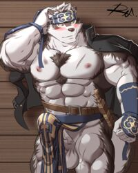 armor balls blush brown_fur bulge canine clothing erection exposed_chest fur gauntlets gloves headband horkeukamui loincloth male mammal muscular muscular_male nipples penis poking_out reclamon solo white_balls white_fur white_penis yellow_eyes