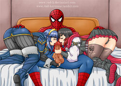 1boy 2girls all_fours armor ass ass_grab bed black_hair blue_hair blush bodysuit boots breast_press breasts cameltoe cape crossover fellatio fire_emblem fire_emblem:_kakusei gradient_hair long_hair lucina marvel multicolored_hair multiple_girls open_mouth oral panties pants pantyshot penis peter_parker red_cape red_hair ruby_rose rud-k rwby shiny shiny_clothes shiny_hair shiny_skin short_hair sideboob skirt spider-man spider-man_(series) testicles thigh_boots thighhighs uncensored