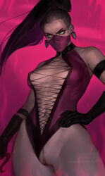 absurdres areolae breasts female female_only highres lerapi looking_at_viewer mileena mortal_kombat nipples pussy solo