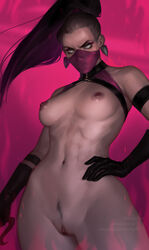 absurdres areolae breasts female female_only highres lerapi looking_at_viewer mileena mortal_kombat nipples nude pubic_hair pussy solo