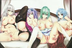 4girls areolae ass black_heart black_legwear blanc blue_eyes blue_hair blush breasts cum cum_in_pussy cum_inside cumdrip curvy female female_only green_hair green_heart large_breasts long_hair looking_at_viewer lying misako12003 multiple_girls navel neptune_(neptunia) neptunia_(series) nipples noire on_side open_clothes parted_lips ponytail purple_eyes purple_hair purple_heart pussy red_eyes silver_hair sitting smile spread_legs spread_pussy thighhighs tied_hair uncensored vert white_heart white_legwear wide_hips