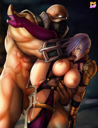 anal areolae astaroth_(soul_calibur) cum cum_in_ass cumdrip drooling fucked_silly gauntlets isabella_valentine large_breasts leg_lift leotard leotard_aside muscular_male nipples no_pupils pauldrons penis pumpkinsinclair pussy rape rolling_eyes sex silver_hair soul_calibur straight
