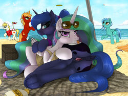 2018 absurd_res alicorn anus ass beach clothing cloud cutie_mark digital_media_(artwork) dock duo_focus earth_pony equine eyelashes eyewear fan_character feathered_wings feathers female feral friendship_is_magic group hair hi_res hooves horn horse long_hair looking_at_viewer mammal multicolored_hair my_little_pony open_mouth outside pegasus pony princess_celestia_(mlp) princess_luna_(mlp) pussy redvais seaside smile sunglasses tongue tongue_out underhoof water wings