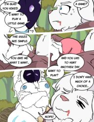 big_breasts blood blue_eyes breasts caprine comic crossed_arms enduranthill feline female foreplay forest fur kindred lamb_(league_of_legends) league_of_legends lion mammal mask nipples page penis rengar riot_games sheep thick_thighs tree video_games white_fur