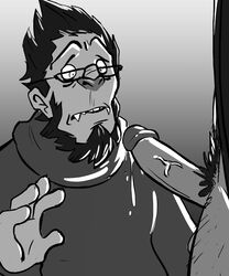 5_fingers anthro ape balls blizzard_entertainment clothing drooling erection eyewear glasses gorilla human human_on_anthro interspecies male mammal monochrome overwatch penis precum primate reaper saliva simple_background standing video_games winston yaoi