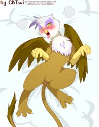 2018 3_toes anus avian blush brown_fur cold-blooded-twilight eyelashes fat_mons feathers female feral friendship_is_magic fur gilda_(mlp) gryphon in_heat looking_at_viewer lying my_little_pony on_back puckered_anus pussy saliva solo toe_spread toes tongue tongue_out white_feathers yellow_eyes