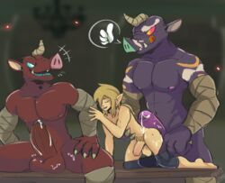 ass balls blin_(zelda) breath_of_the_wild clothed clothing cum gangbang group group_sex invalid_background link male meatshaq moblin muscular nintendo partially_clothed penis sex table the_legend_of_zelda tongue tongue_out video_games yaoi