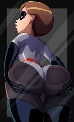 against_glass ass bodysuit female female_only helen_parr huge_ass looking_at_viewer looking_back ravenravenraven solo the_incredibles