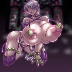 1girl all_fours armor ass bash-inc breasts dildo female female_only gloves highres huge_ass huge_breasts isabella_valentine nipple_penetration nipple_plug sex_toys solo soul_calibur thick_thighs wet wide_hips