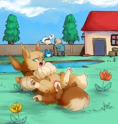 1girls 3_fingers 3_toes 3boys ? alternate_color brother brother_and_sister brown_pawpads building clitoris closed_eyes cum cum_in_pussy cum_inside cute_fangs dipstick_tail duo_focus eevee female female_on_top feral feral_on_feral flower fluffy fluffy_tail furry grass green_eyes group house human incest lake looking_back male male_penetrating mammal marill multicolored_tail nintendo on_top one_eye_closed open_mouth orgasm original_character outside pawpads penetration penis pine_tree plant pokémon_(species) pokemon pussy sibling sister smile spread_legs spreading straight tahla telain testicles tingtongten toes tongue tree twins vaginal_penetration video_games