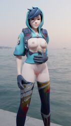 3d alternate_costume areolae blender breasts female graffiti_tracer looking_at_viewer nipples overwatch pussy solo solo_female tracer wiimenumusic