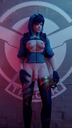 3d alternate_costume areolae blender blizzard_entertainment breasts dickgirl futa futa_only futanari graffiti_tracer looking_at_viewer nipples overwatch penis solo strapy tracer uncut