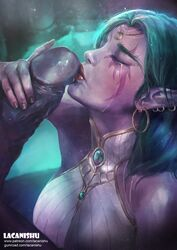 1boy aqua_hair archimonde artist_name big_penis blizzard_entertainment breasts clothes clothing covered_breasts crying defeated degradation dress earrings elf erect erection fellatio female female_focus green_hair handjob hoop_earrings huge_cock humanoid humiliation interracial jewelry kissing kneeling lacanishu large_breasts large_penis lips lipstick long_hair makeup male nail_polish night_elf oral penis penis_awe penis_kiss piercing pink_skin pointy_ears purple_skin straight submission tears tyrande_whisperwind upper_body warcraft web_address white_dress world_of_warcraft