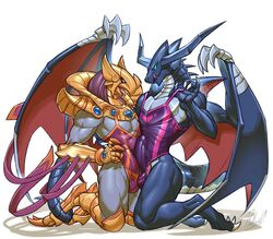2boys armor azir_(lol) bahamut bulge clothed clothing dragon duo erection frottage furry league_of_legends male male_only penis pose riot_games rollwulf sex simple_background smile swimming_suit video_games wings yuri