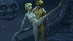 3d 3d_(artwork) 3dhentaihero areolae balls blonde_hair blue_eyes breasts duo female hair hylian hyrule_warriors link linkle majora's_mask male moon nipples nude one_leg_up penetration penis pointy_ears pussy sex small_breasts source_filmmaker spread_legs spreading standing standing_sex straight the_legend_of_zelda vaginal_penetration