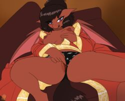 2018 anthro areola bat_pony breasts clothing fan_character female finger_fuck fingering hair hi_res looking_at_viewer masturbation my_little_pony nipples pussy sofa solo spread_legs spreading the-minuscule-task underwear vaginal_masturbation vaginal_penetration wings