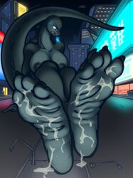 2018 4_toes angry anthro barefoot breasts bronypanda bukkake city claws cum cum_on_feet feet female fire foot_fetish godzilla godzilla_(series) invalid_background kaiju lizard macro monster night nipples nude reptile rule_63 scalie soles solo teeth toes toho