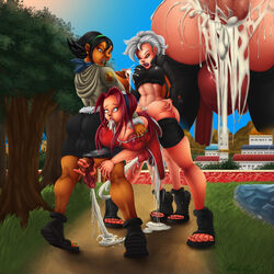 3futa anal androgynous balls black_hair cosplay cum_in_ass dark-skinned_futanari dark-skinned_male dark_skin ejaculating_while_penetrated ejaculation futa_on_futa futanari girly hyuuga_hinata lactation mutantproject naruto public red_hair sakura_haruno uzumaki_naruto white_hair