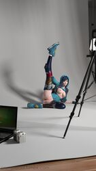 3d alternate_costume areolae blender blue_hair breasts crumplelad female graffiti_tracer nipples overwatch pussy solo solo_female spread_legs spread_pussy tracer
