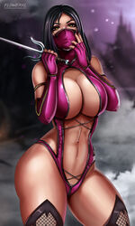 1girl abs ass big_ass big_breasts breasts cleavage clothed female female_only flowerxl large_breasts looking_at_viewer mileena mortal_kombat pinup revealing_clothes solo text watermark wide_hips