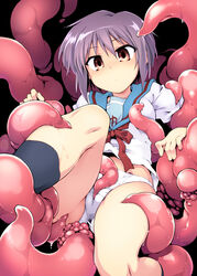 cameltoe clitoral_stimulation clothing female nagato_yuki panties purple_hair school_uniform short_hair suzumiya_haruhi_no_yuuutsu tentacle tomoshibi_hidekazu underwear white_panties