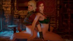 3d ass bed big_ass big_penis buttjob carpet chair ciri female green_eyes indoor indoors male multiple_girls painting red_hair scar sdbtt the_witcher the_witcher_3 triss_merigold wall white_hair