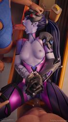 1girl 2boys 3d animated blender blizzard_entertainment defeated edit fellatio fritzhq gangbang hands_tied laying lerico213 missionary oral overwatch penetration purple_skin sex sound threesome tied_hands tied_up vaginal_penetration webm widowmaker