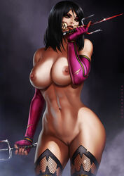 abs absurdres areolae artist_name bare_shoulders black_hair breasts cowboy_shot dandon_fuga eyeshadow female fingerless_gloves fishnet_legwear fishnets fog functionally_nude gloves groin hand_up highres hips holding holding_weapon index_finger_raised large_breasts legs lips lipstick looking_at_viewer makeup mileena mortal_kombat nail_polish navel nipples no_mask parted_lips purple_nails pussy red_lips sai_(weapon) sharp_teeth short_hair simple_background slit_pupils smoke solo standing teeth thighhighs thighs toned torn_clothes torn_elbow_gloves torn_gloves uncensored weapon yellow_eyes