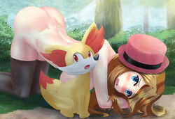 1girl all_fours alternate_breast_size ass back bangs black_legwear blue_eyes blush breasts bush embarrassed female fennekin forest fox furry fuzzlogik grass hat highres huge_breasts human large_breasts light_brown_hair long_hair looking_at_viewer nintendo nude outdoors pokemon pokemon_(anime) pokemon_xy red_eyes red_hat round_teeth serena_(pokemon) shy swept_bangs thighhighs top-down_bottom-up tree upper_teeth yellow_fur
