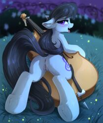 2018 anus black_hair blush cello cutie_mark digital_media_(artwork) earth_pony equine female feral friendship_is_magic fur hair hi_res hioshiru hooves horse long_hair looking_at_viewer mammal musical_instrument my_little_pony octavia_(mlp) open_mouth pony purple_eyes pussy solo tongue tongue_out underhoof