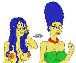 1girl before_and_after blue_hair breasts cleavage female josemalvado long_hair marge_simpson mobile_phone necklace nipples the_simpsons