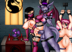 arms_above_head bit_gag bondage bound breasts candles chains covered_face covered_mouth cuffs defeated demon_girl erection evil-rick femdom femsub futa_on_female futanari gag gagged mileena mortal_kombat multiple_subs nipples nude penis pussy red_candles restrained spread_legs unlit_candles vaginal_penetration wince wrist_cuffs