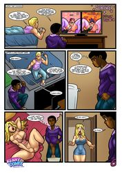bbc big_penis blonde_hair dark-skinned_male dark_skin dildo english_text female fingering interracial kennycomix large_breasts male masturbation peeing rabies-t-lagomorph text vibrator
