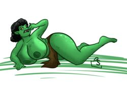 big_breasts busty female green_skin laying loincloth orc orc_female topless